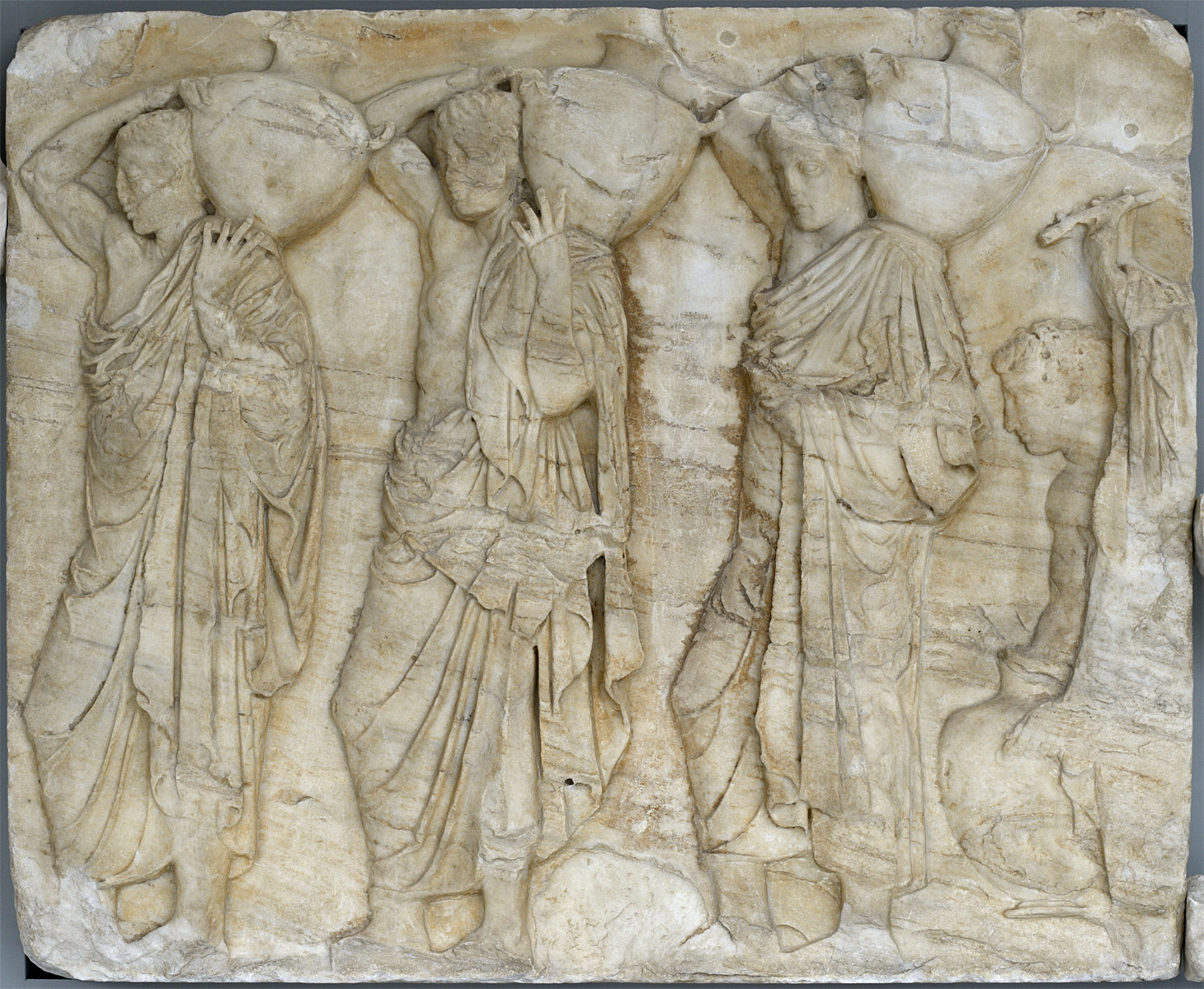 Panathenaic Procession. Hydria-bearers. Frieze of Parthenon. The Northern face, block N VI. Marble. 5th century BCE. Inv. No. Acr. 864. Athens, New Acropolis Museum