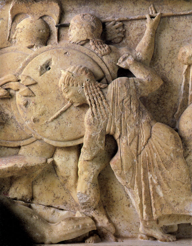 Gigantomachy. Hera attacks one of the giants. The frieze of the Siphnian Treasury in Delphi. Marble. 525 BCE. Delphi, Archaeological Museum