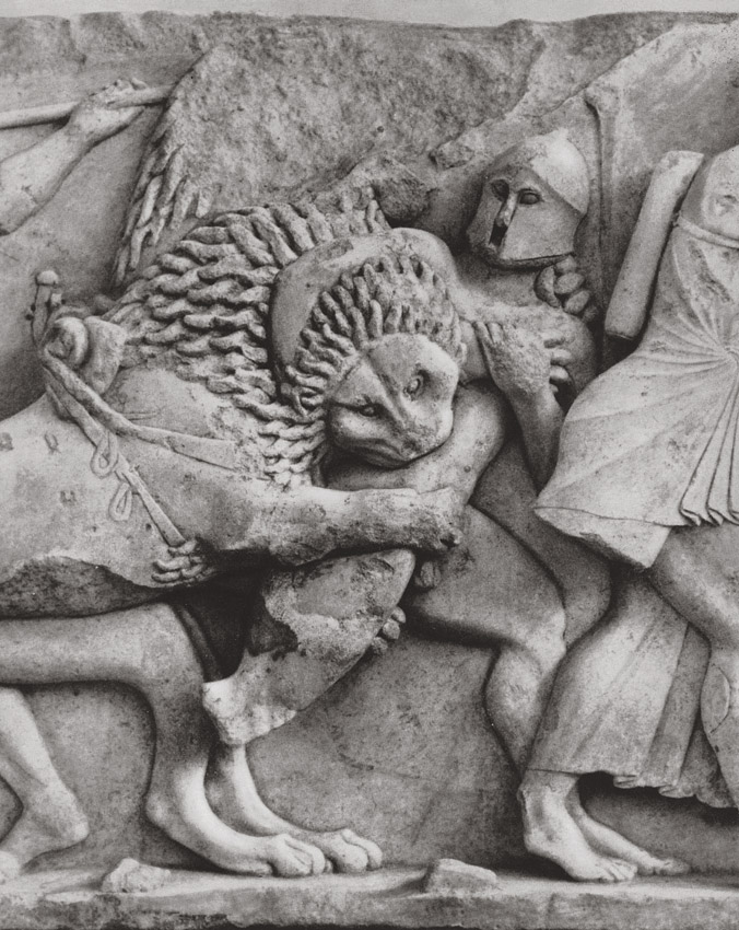 """""""Gigantomachy."""" Marble. Frieze of the Siphnian Treasury in Delphi. Marble. 6th century BCE. Delphi, Archaeological Museum"""