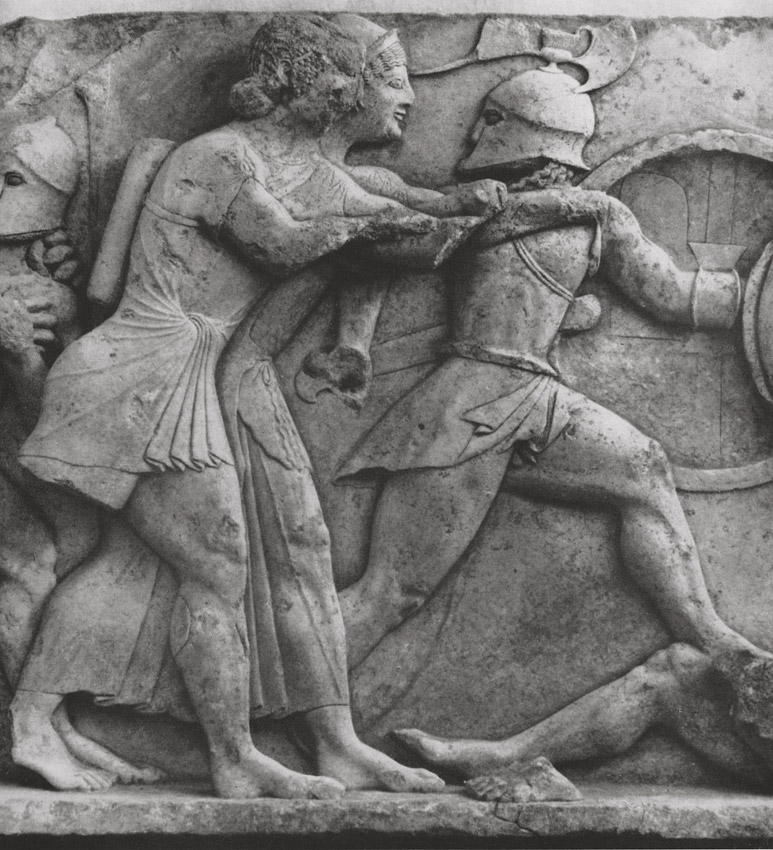 """Gigantomachy."" Marble. Frieze of the Siphnian Treasury in Delphi. Marble. 6th century BCE. Delphi, Archaeological Museum"
