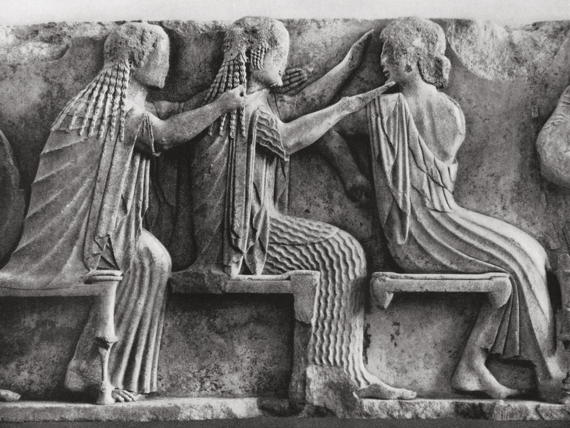 Aphrodite, Artemis and Apollo. Marble. Detail of frieze of the Siphnian Treasury in Delphi. Marble. 6th century BCE. Delphi, Archaeological Museum