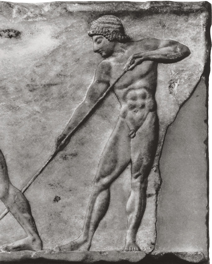Wrestling at the palaestra. Detail. Relief on the base of a statue. Marble. Late 6th century BCE. Athens, National Archaeological Museum