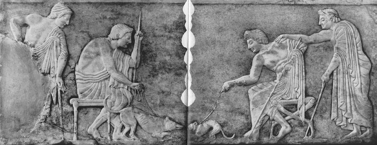 Fight of a dog against a cat. Relief on the base of a statue. Marble. Late 6th century BCE. Athens, National Archaeological Museum