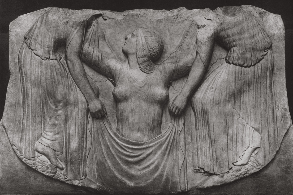 "Birth of Aphrodite. Altar of Aphrodite, so-called ""Ludovisi Throne."" Marble. First third of the 5th century BCE. Rome, Roman National Museum, Palazzo Altemps"