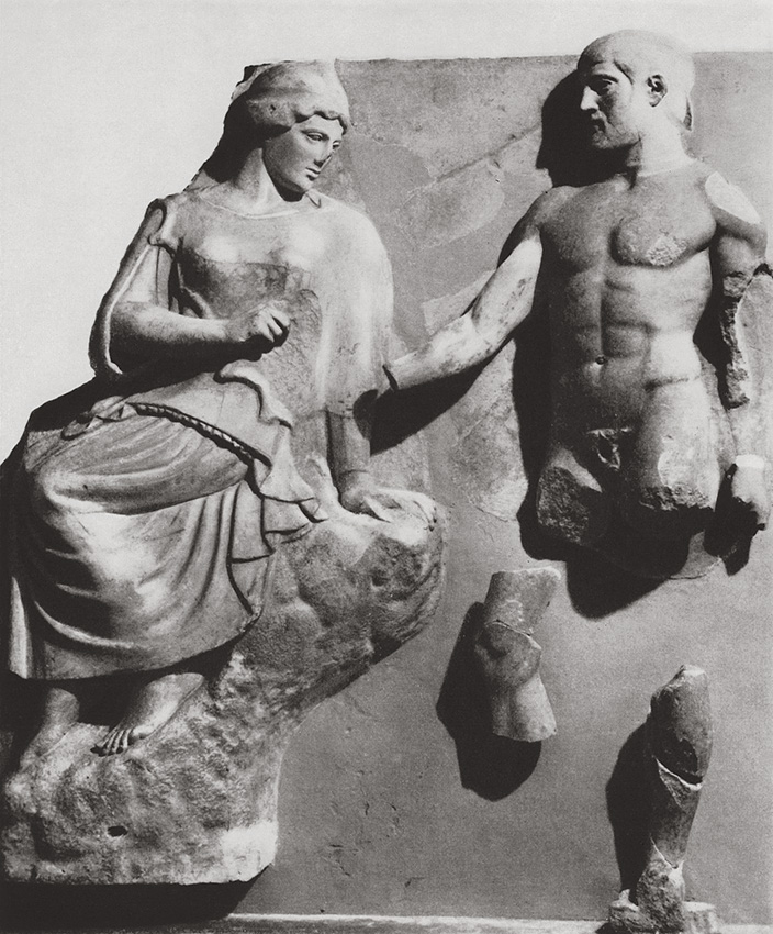 Heracles bringing to Athena the Stymphalian Birds. Metope of the Temple of Zeus at Olympia. Marble. 60s of the 5th century BCE. Paris, Louvre Museum