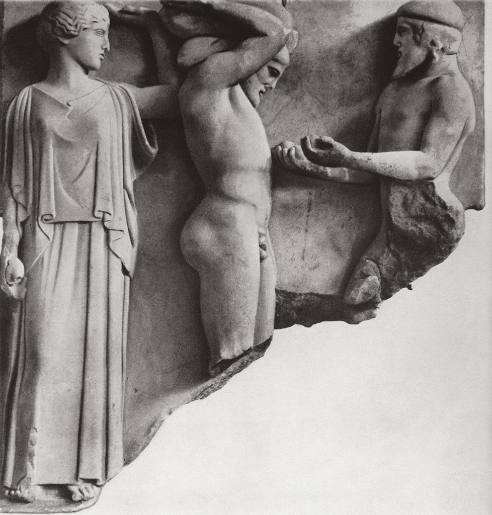 Heracles, Athena, and Atlas. Metope of the Temple of Zeus at Olympia. Marble. 60s of the 5th century BCE. Olympia, Archaeological Museum