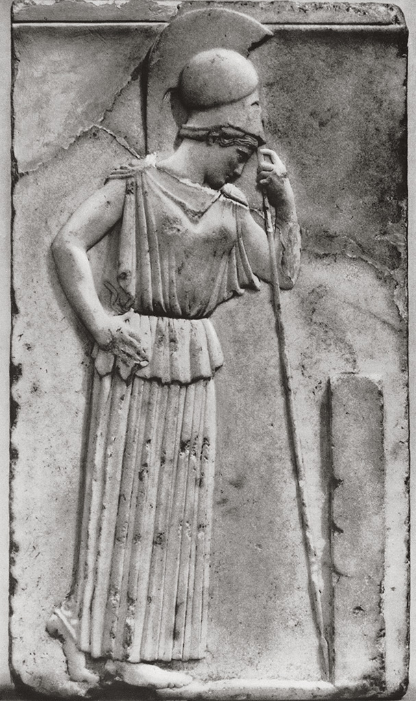 Athene leaning on her spear. Relief from the Athenian Acropolis. Marble. Circle of Myron. Mid-5th cent. BCE. Athens, New Acropolis Museum