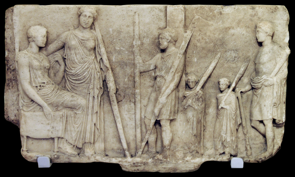 Votive relief with Demeter and Persephone. Marble. 5th century BCE. Length 36 cm. Inv. No. ПАН 160. Saint Petersburg, The State Hermitage Museum