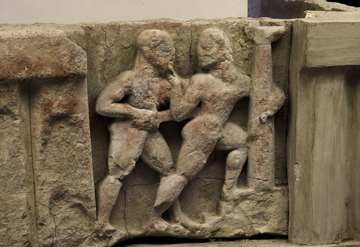 Orestes kills Aegisthus. Sandstone. Metope from the temple of Hera at the mouth of the river Sele. Mid-6th century BCE. Paestum, National Archaeological Museum