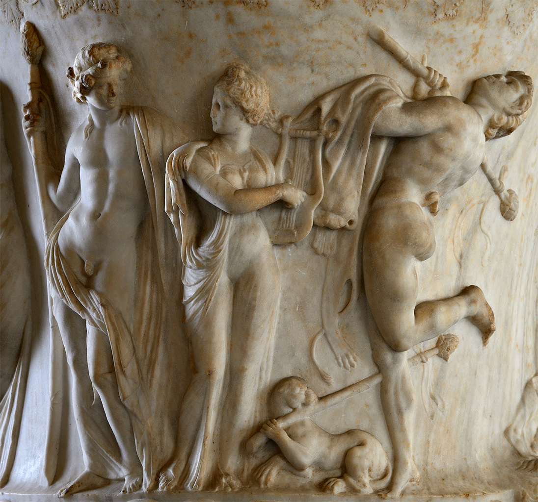 Borghese vase. Detail: Dionysus, Ariadne and dancing satyr. Pentelic marble. Neo-attic work of the second half of the 1st century BCE. Inv. No. MR 985 / Ma 86. Paris, Louvre Museum