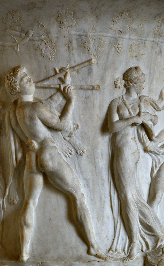 Borghese vase. Detail: satyr playing aulos. Pentelic marble. Neo-attic work of the second half of the 1st century BCE. Inv. No. MR 985 / Ma 86. Paris, Louvre Museum