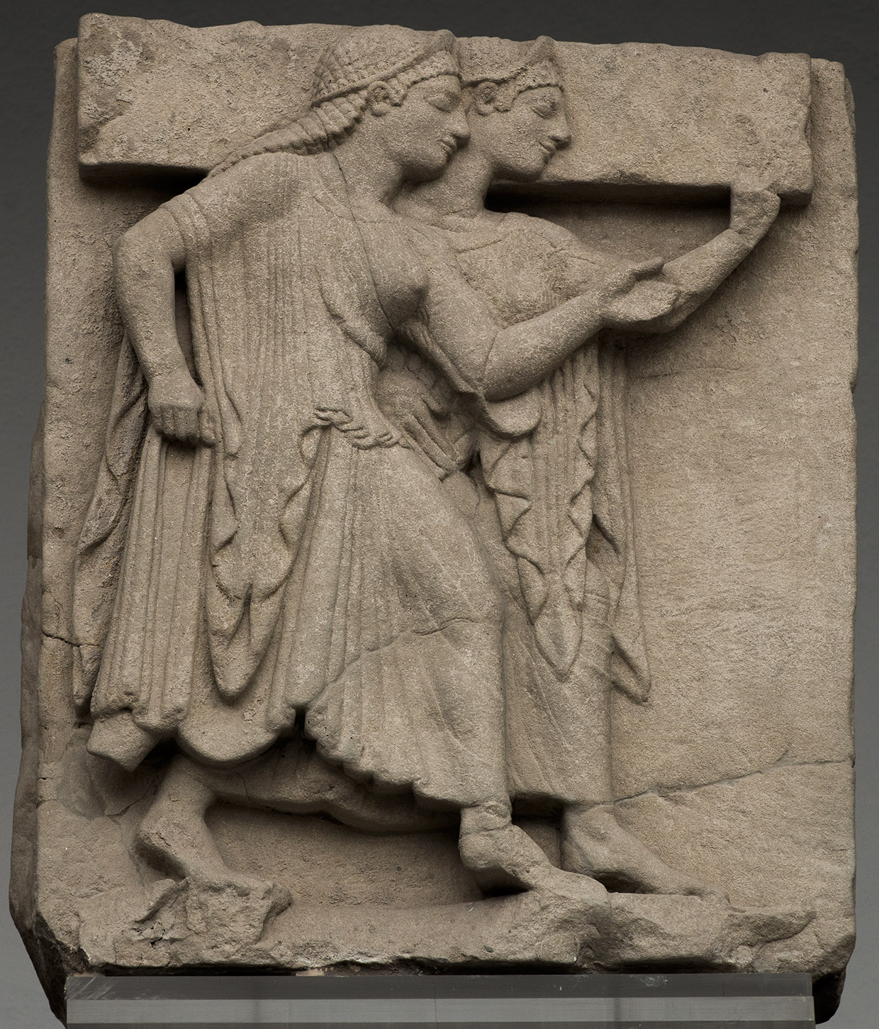 So-called Nereids. Sandstone. Metope from the temple of Hera at the mouth of the river Sele. Mid-6th century BCE. Paestum, National Archaeological Museum