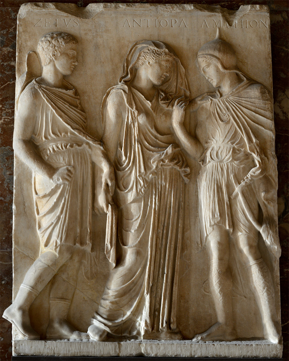 Orpheus, Eurydice and Hermes. Relief. Greek copy of ca. 50 BCE from a Greek original of 430-420 BCE. Penthelic marble. Inv. No. Mr 702 (Ma 854). Paris, Louvre Museum
