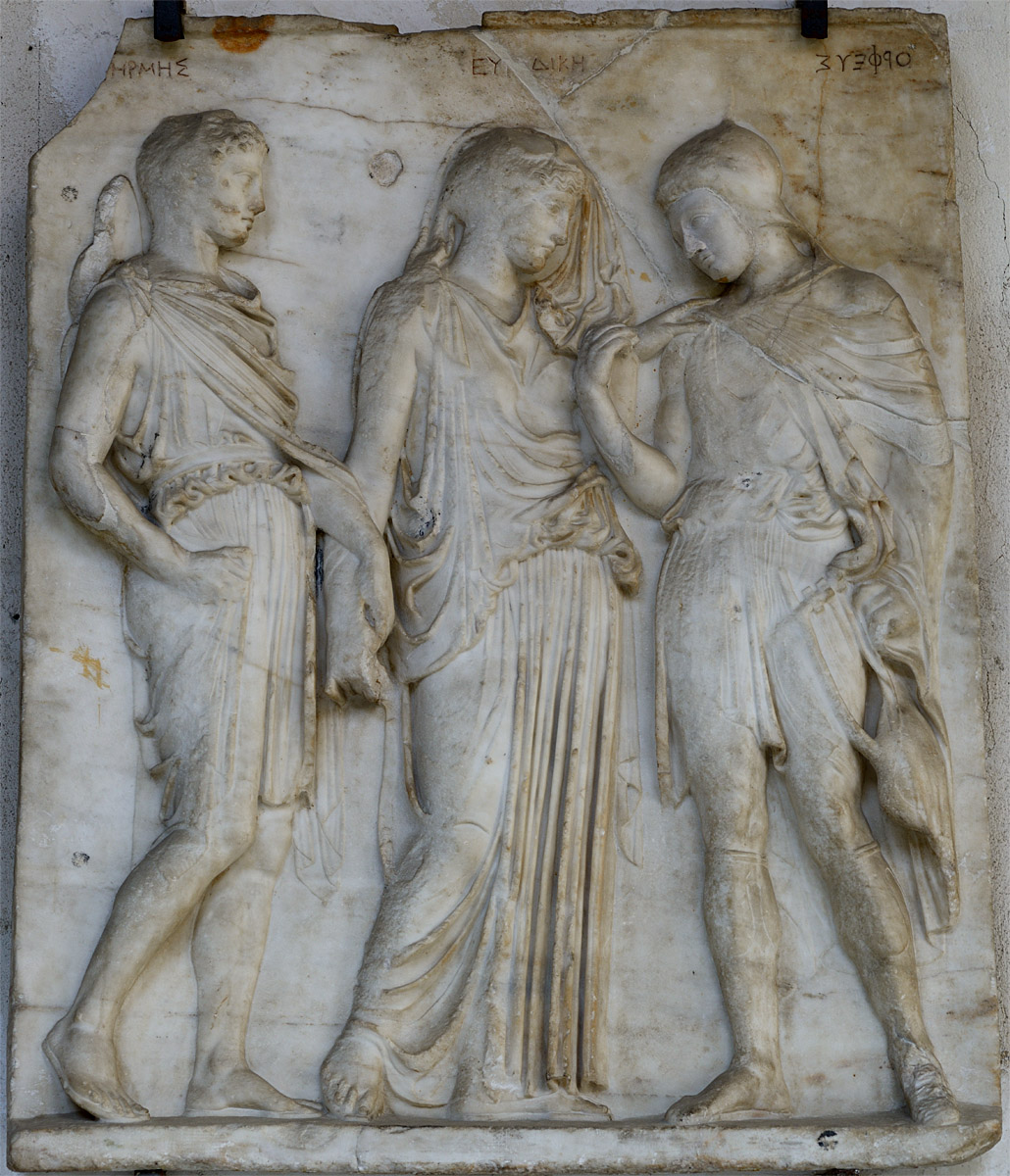 Orpheus, Eurydice and Hermes. Relief. Roman copy of the augustan age from a Greek original of the second half of 5th cent. BCE by Alcamenes, disciple of Phidias. Marble. Inv. 6727. Naples, National Archaeological Museum