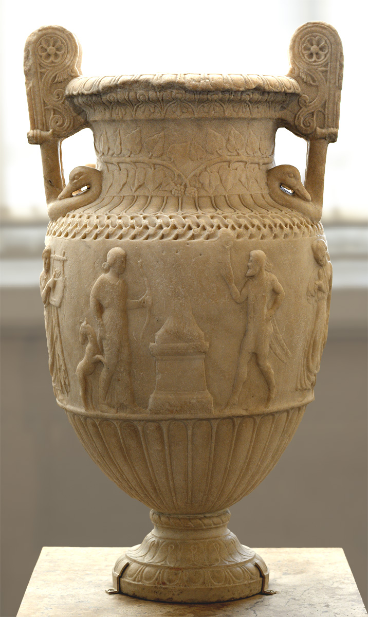 Sosibios vase. Pentelic marble. Neo-attic work ca. 50 BCE. Height of antic part 65 cm; total height 78 cm. Inv. No. MR 987 / Ma 442. Paris, Louvre Museum