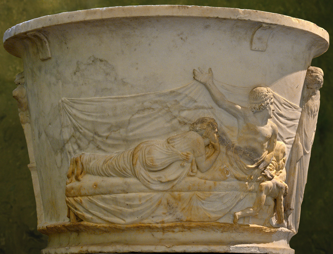 """Decorative vase """"Dionysus and his companions"""" (a close-up of the frieze relief). Marble. 2nd century CE. Inv. No. A 111. Saint Petersburg, The State Hermitage Museum"""