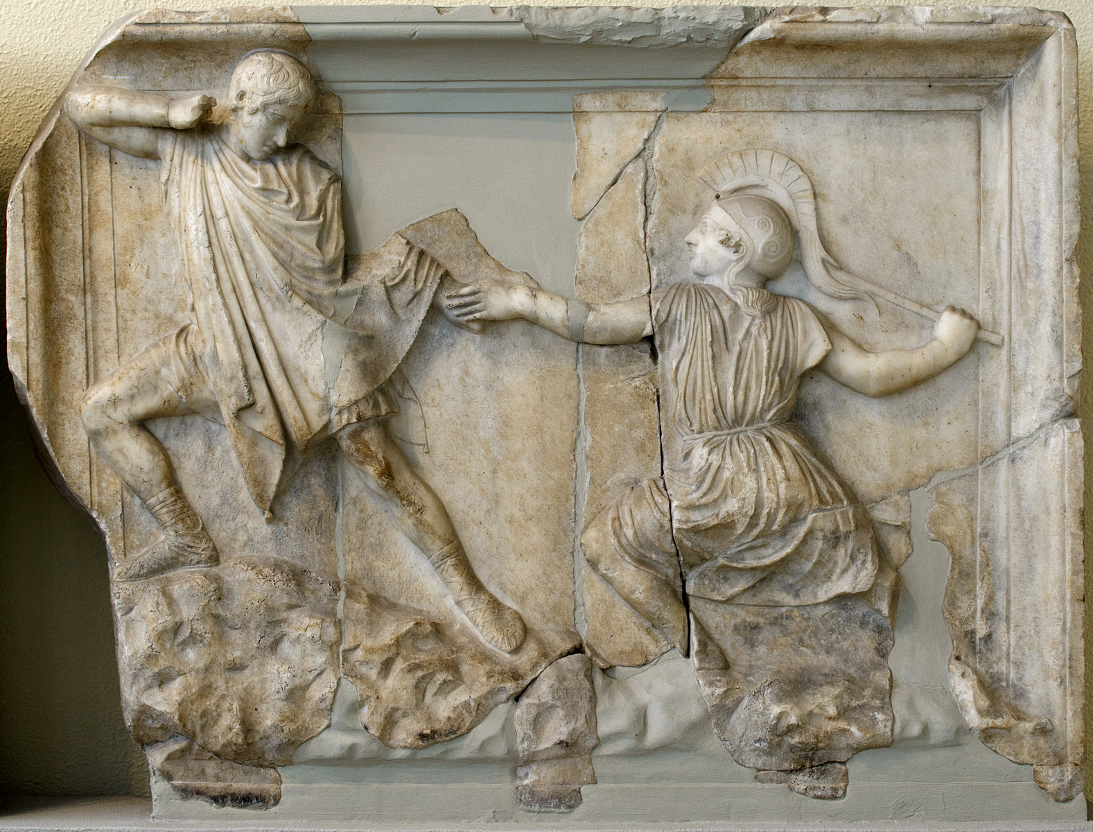 Greek fighting Amazon (scene of Amazonomachia). Marble. Neo-Attic relief panel. Mid-2nd cent. CE. Athens, Archaeological Museum of Piraeus