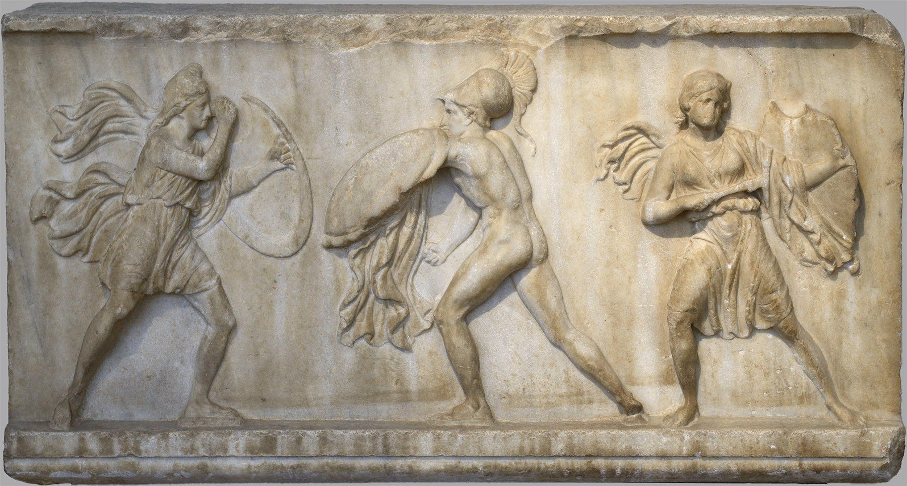 Greek fighting Amazons. Pentelic marble. Relief slab from a friese depicting Amazonomachy. Mid-4th cent. BCE. Inv. No. 3614. Athens, National Archaeological Museum
