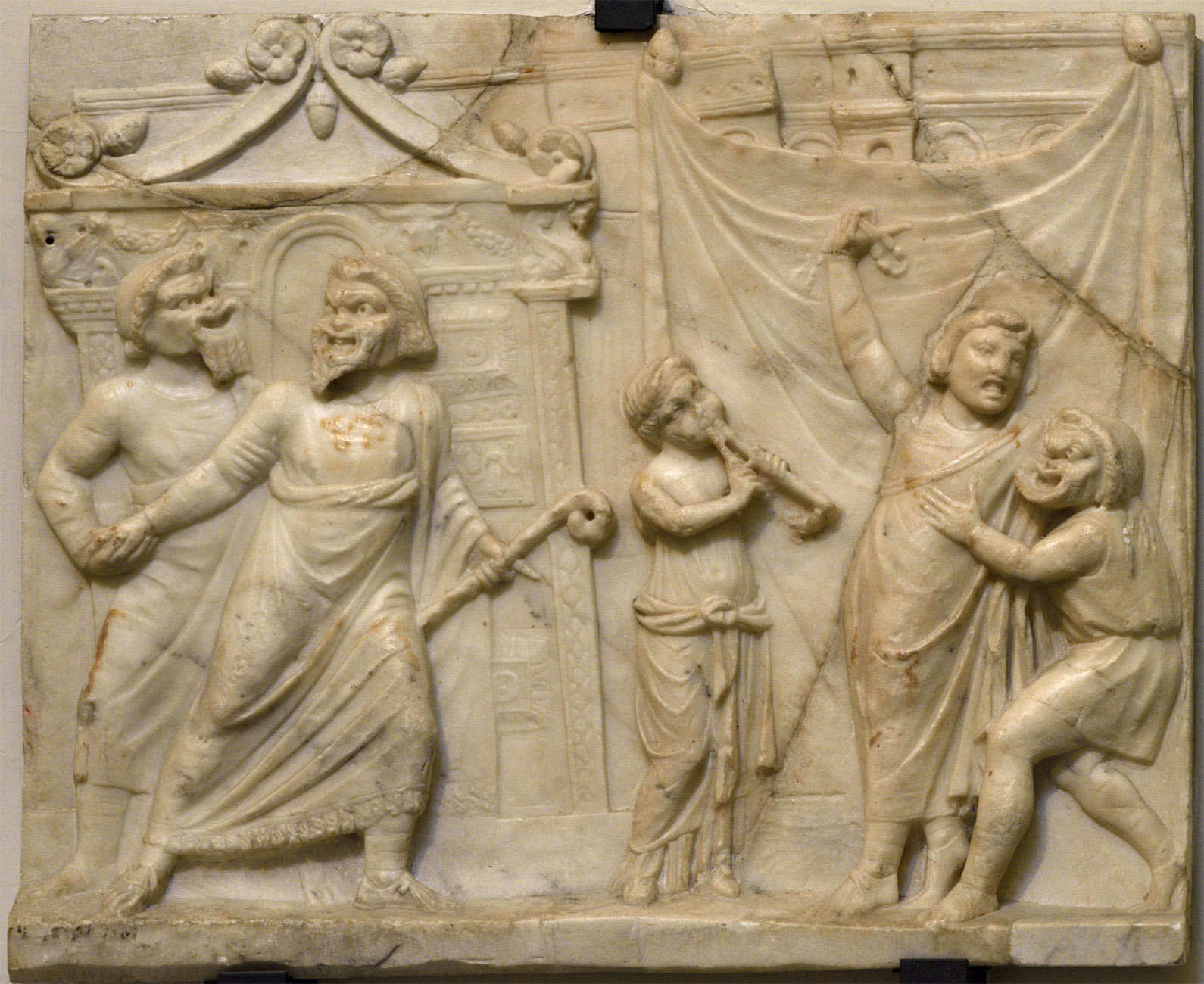 Relief depicting a theatre scene. Neo-Attic relief. Luna varble. Mid-1st cent. CE.  Inv. No. 6687. Naples, National Archaeological Museum