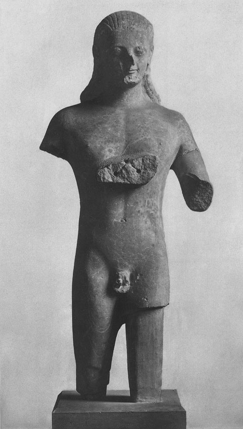 Statue of a youth. Coarse-grained marble. Ca. 525 BCE. Height 166 cm. Berlin, State Museums