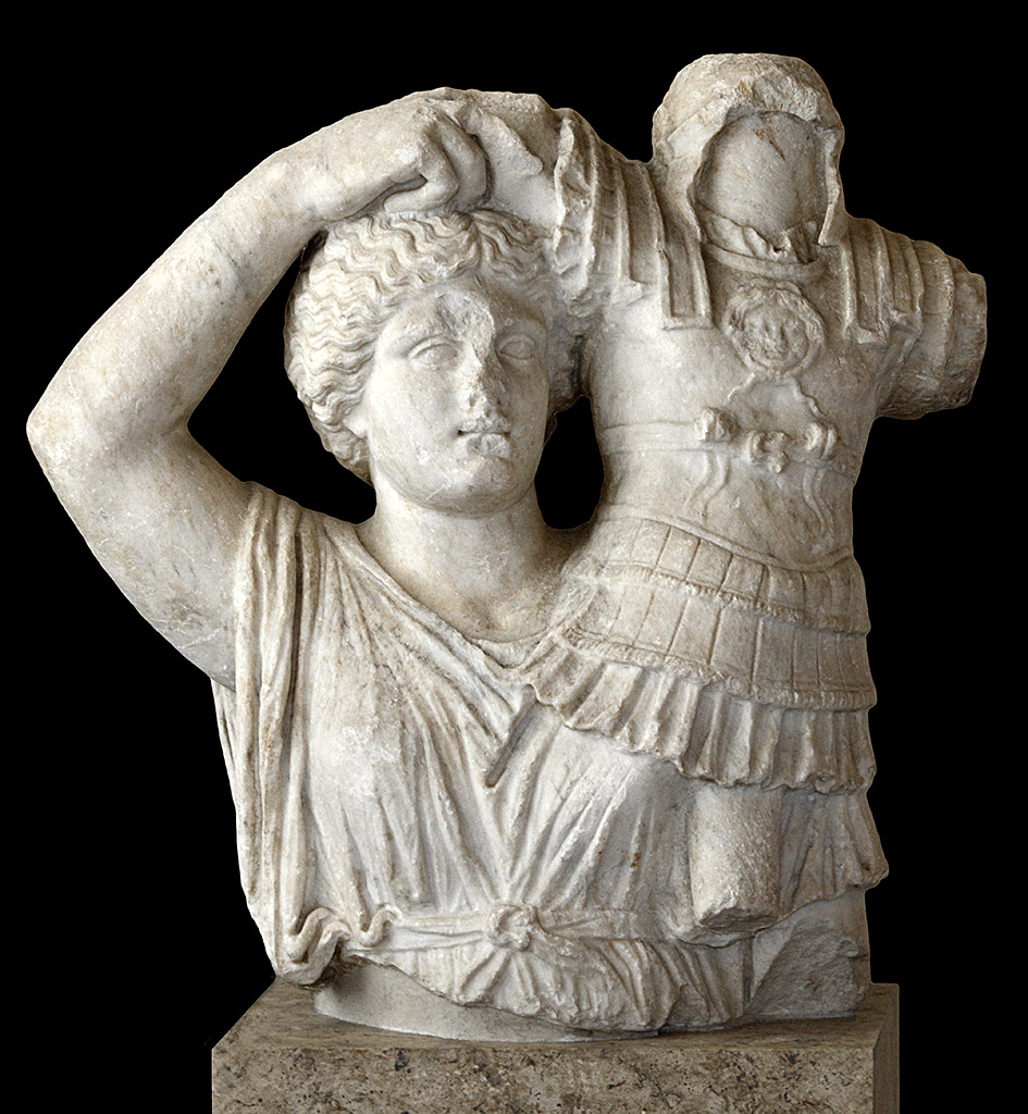 Victory holding a trophy. Marble. End-1st century BCE. Greece. Apollonia (Epirus). Inv. N. Ma 1432. Paris, Louvre Museum