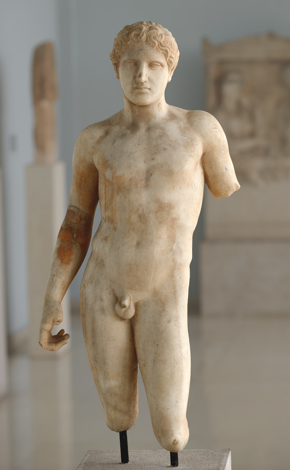 Statue of a young athlete (perhaps, funerary). Marble. Ca. 400 BCE. Inv. No. 430. Athens, Archaeological Museum of Piraeus