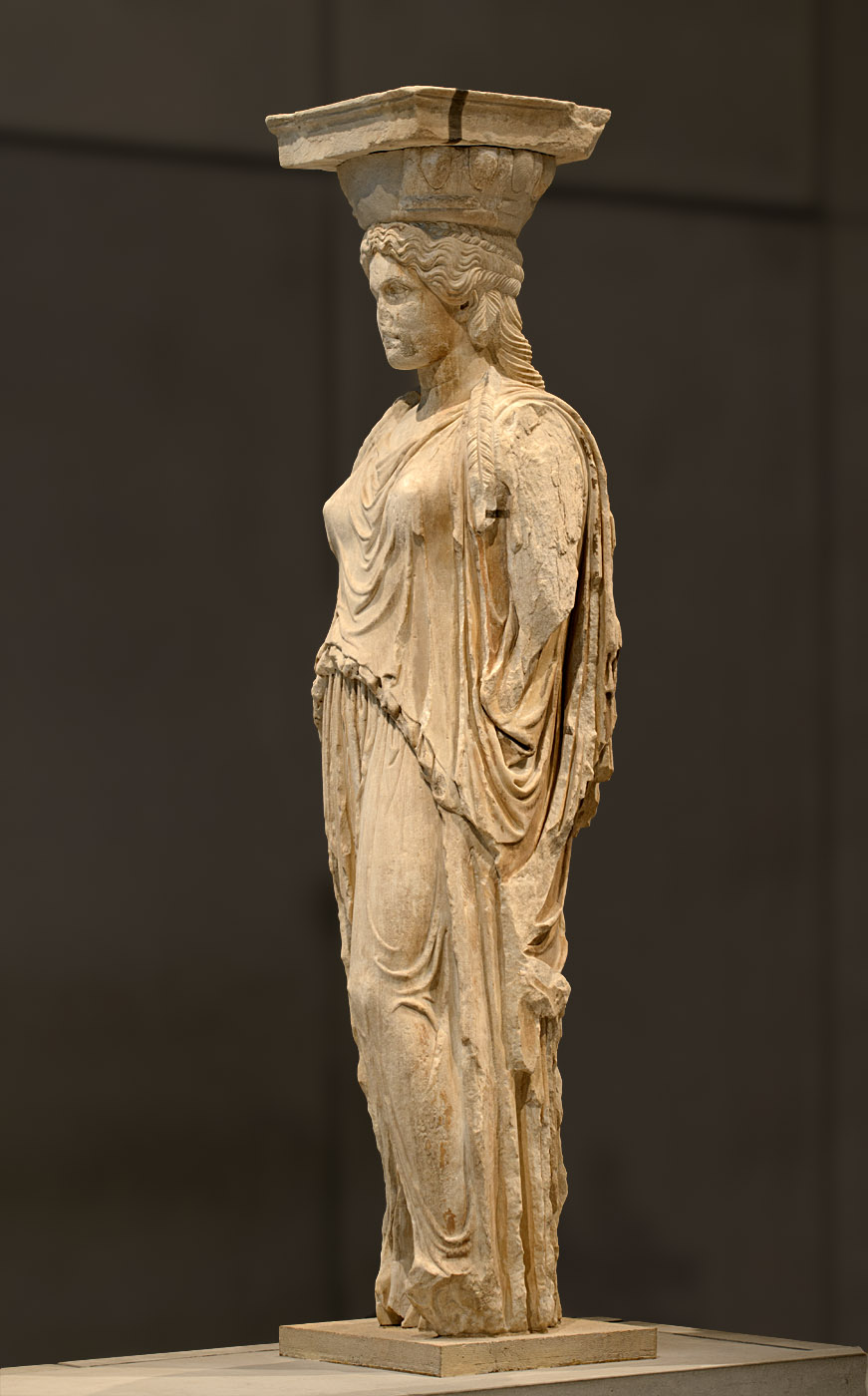 Caryatide (Kora) from the South porch of Erechtheion. Pentelic marble. 421—406 BCE. Athens, New Acropolis Museum
