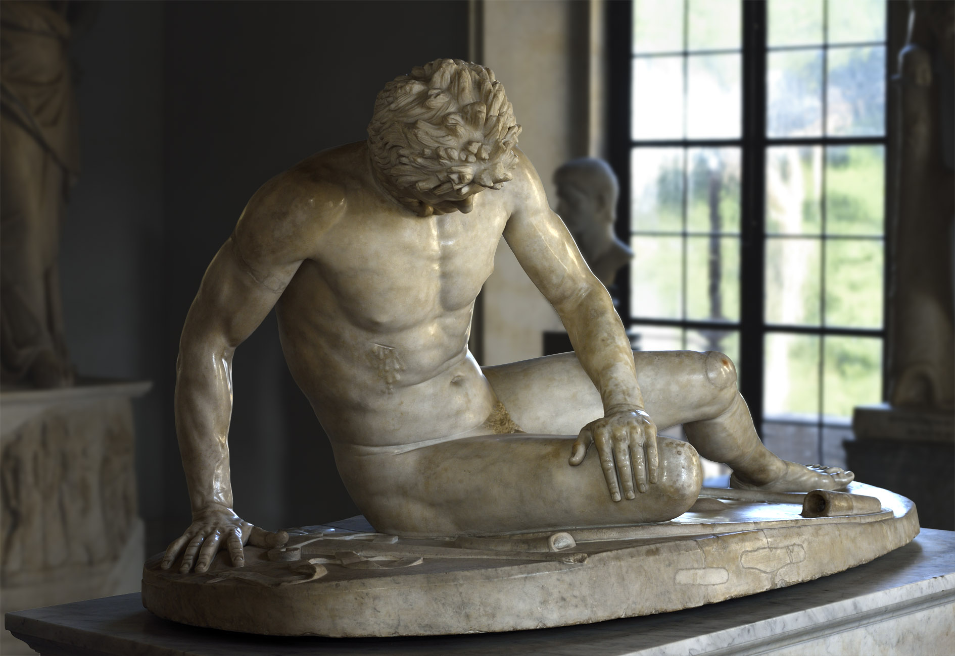 "Dying Gaul (also known as ""Galata Capitolino""). Marble. Roman copy of the lost Hellenistic original of the 3rd century BCE. Inv. No. MC 747. Rome, Capitoline Museums, Palazzo Nuovo, Hall of the Gaul"