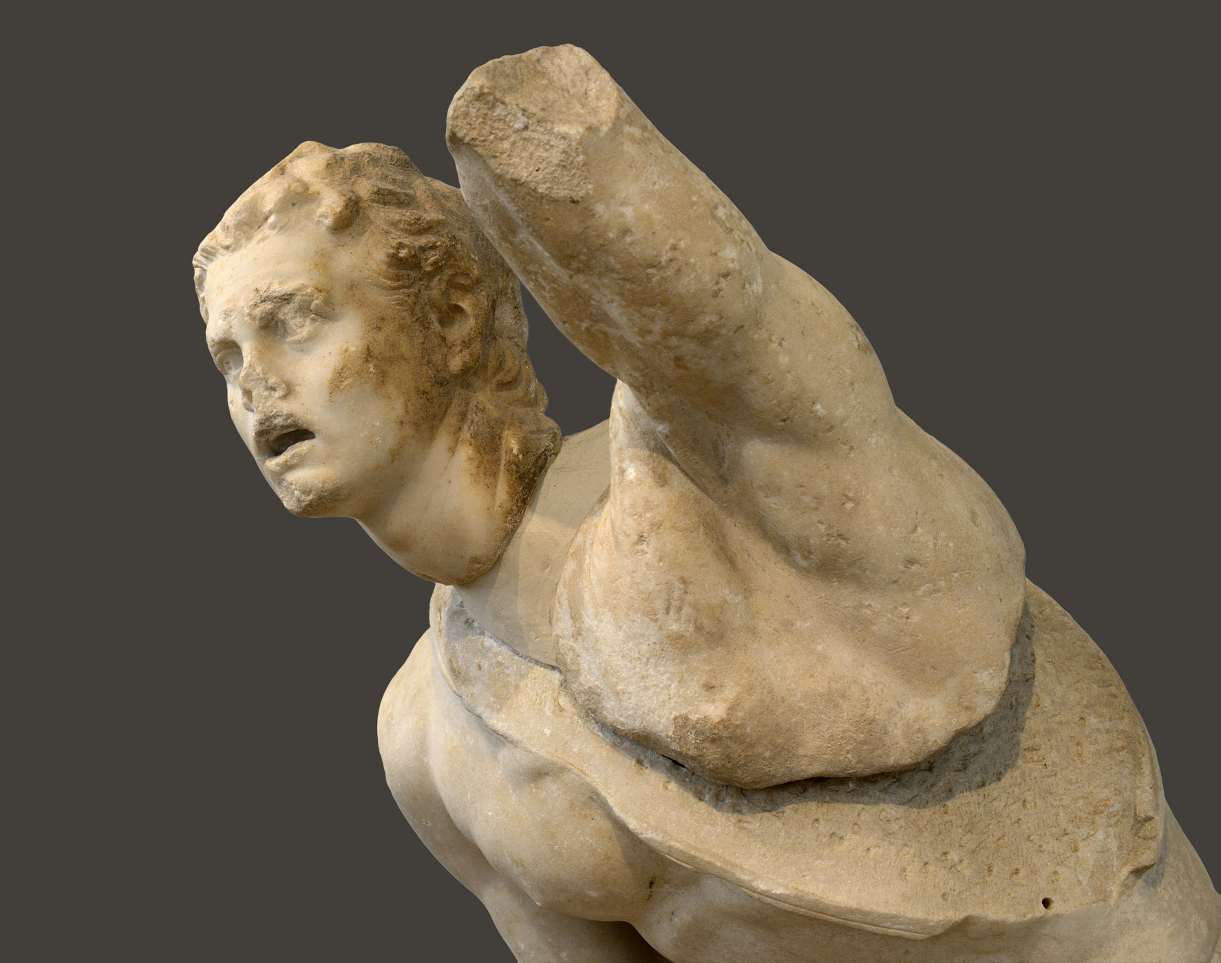 Fighting Gaul (close-up). Parian marble. Ca. 100 BCE. Inv. No. 247. Athens, National Archaeological Museum