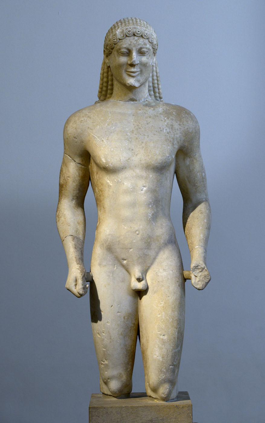 Kouros. Island marble. Ca. 520 BCE. Inv. No. 12+2005. Athens, National Archaeological Museum