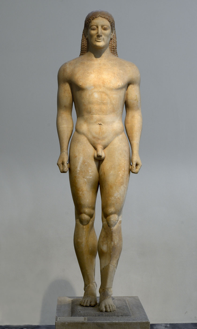 Kouros (funerary statue of Kroisos). Parian marble. Ca. 520 BCE. Inv. No. 3851. Athens, National Archaeological Museum