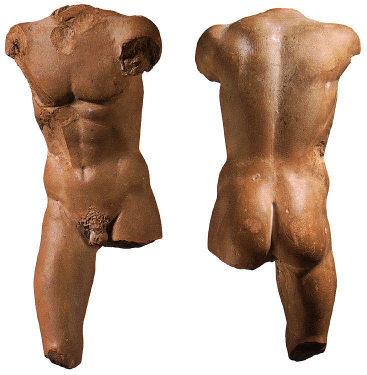 Torso of a young man. Terracotta. 4th—3rd centuries BCE. Height 9.3 cm. Inv. No. П.1978.52. Saint Petersburg, The State Hermitage Museum