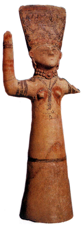 Terracotta figurine with uplifted arms. 750—475 BCE. London, The British Museum