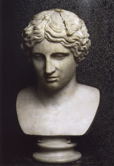 Head of Amazon. Marble. Roman copy after a Greek originals of 440—430 BCE.  Inv. No. A. 324. Saint Petersburg, The State Hermitage Museum