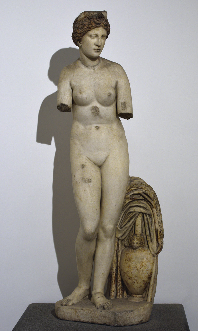 Aphrodite (the Capitoline type). Marble. Roman copy of the Imperial age after a Greek prototype of the Hellenistic age. Inv. No. 21. Rome, Roman National Museum, Baths of Diocletian