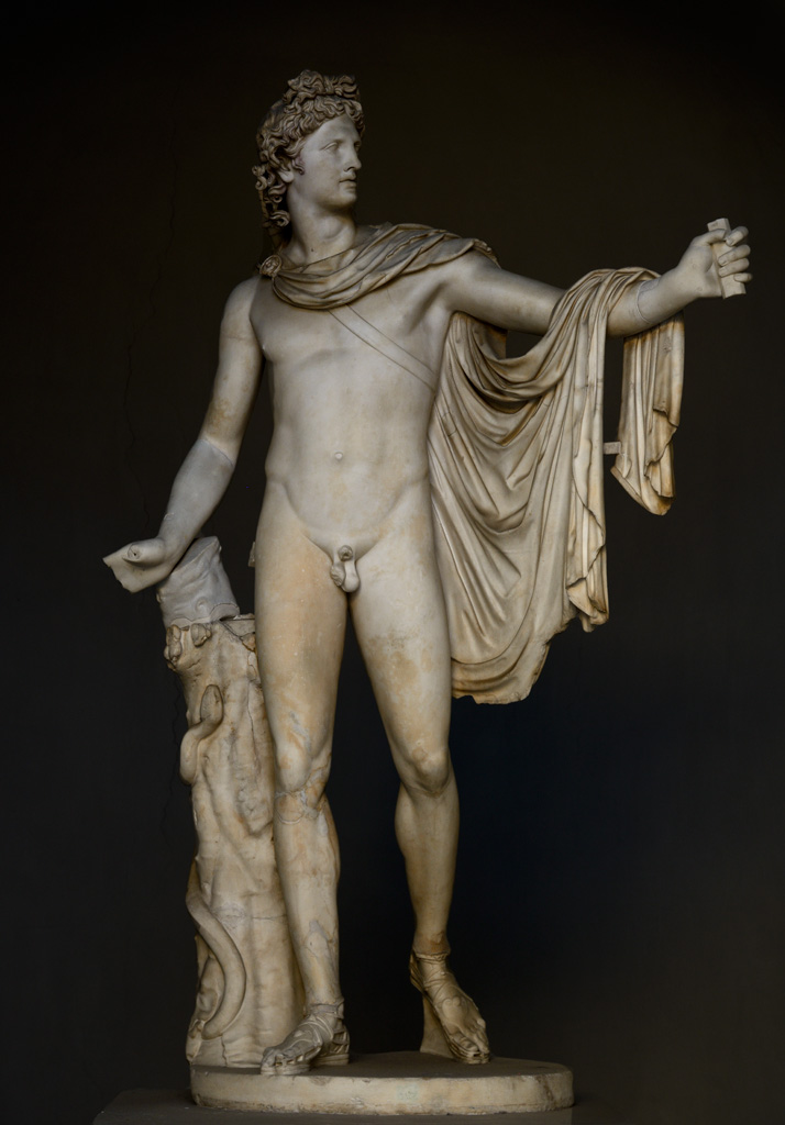 Apollo Belvedere. 2nd-century CE Roman copy of a 4th-century BCE bronze original attributed to the sculptor Leochares. Inv. No. 1015. Rome, Vatican Museums, Pius-Clementine Museum, Octagonal Court, Apollo Cabinet, 2