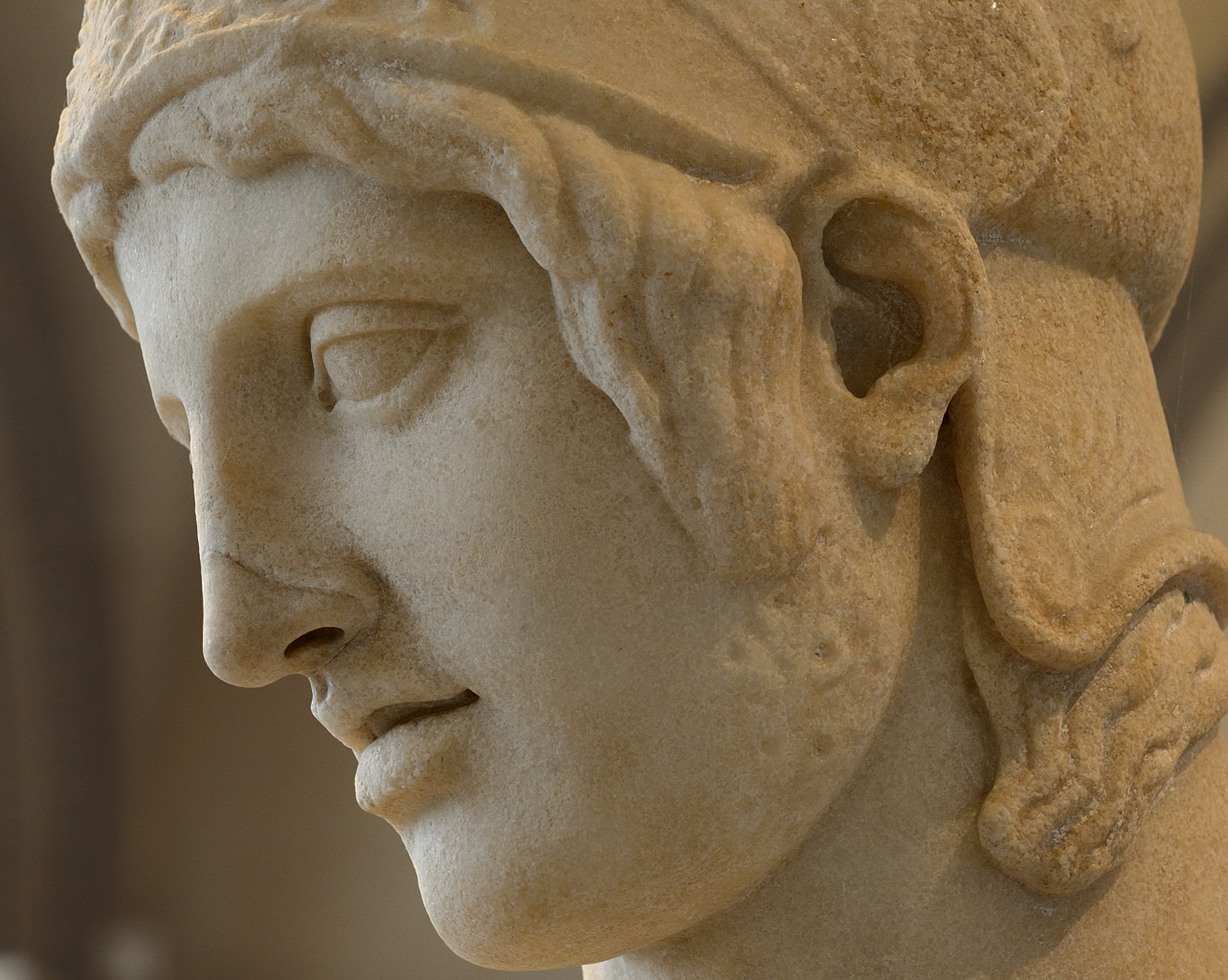 "Ares, called the ""Borghese Ares"" (close-up). Marble. 1st—2nd cent. CE (?). Inv. No. Mr 65 / Ma 866. Paris, Louvre Museum"