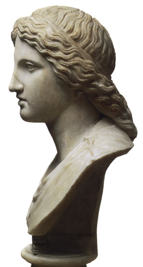 Head of Artemis. Marble. Roman copy after a Greek originals of the late 4th century BCE. Height 31 cm. Inv. No. A. 49. Saint Petersburg, The State Hermitage Museum