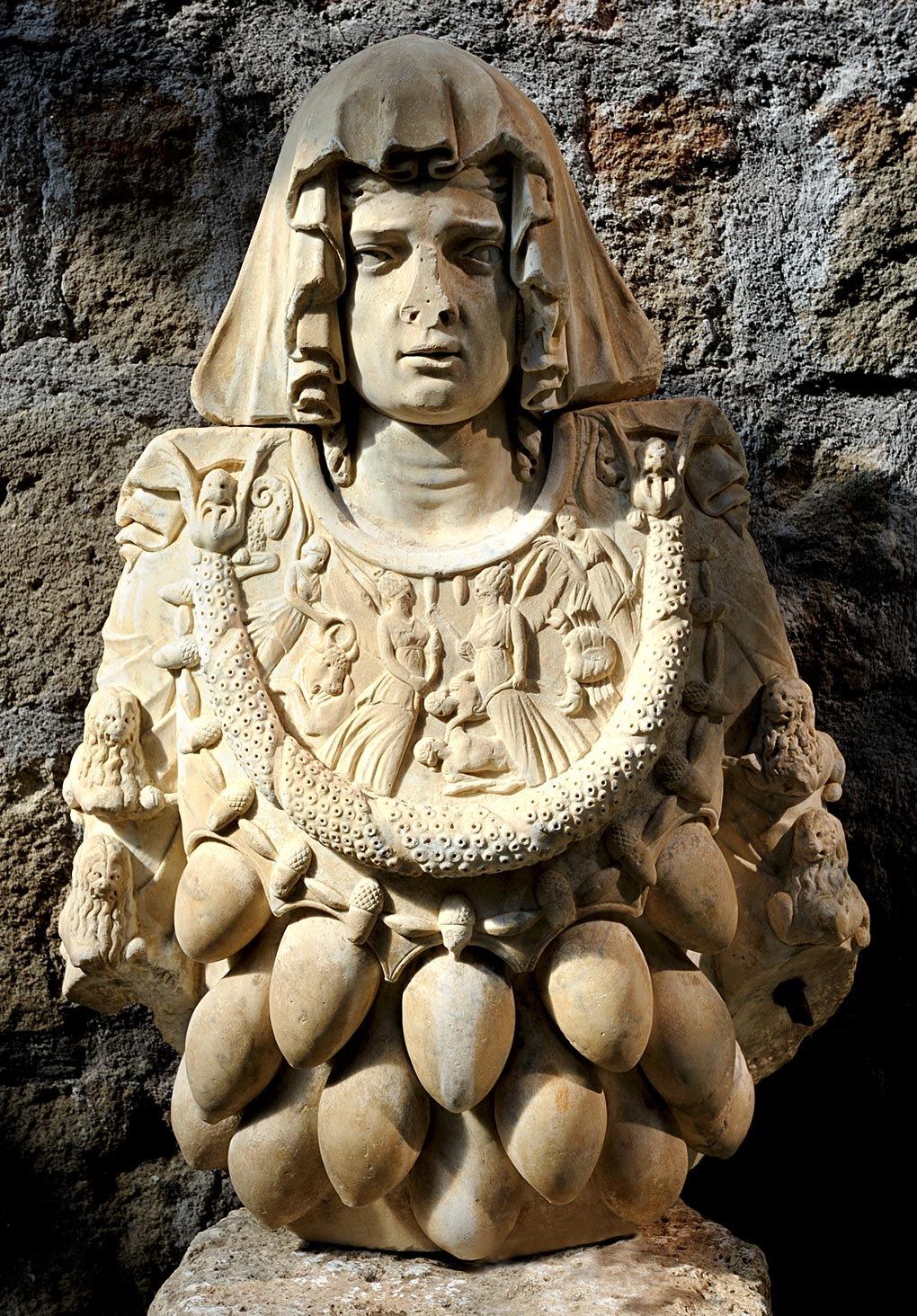 Goddess of abundance (archetype of Artemis of Ephesus). Marble. Viterbo, Cathedral