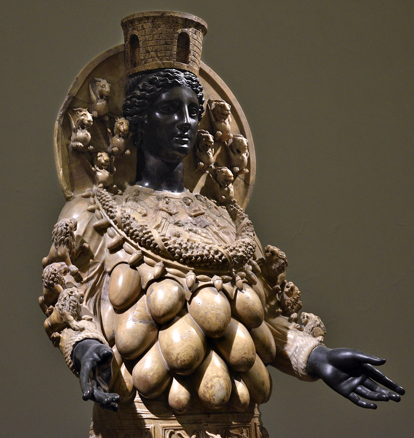 Artemis of Ephesus. Alabaster, bronze. Second half of the 2nd century CE.  Inv. No. 6278. Naples, National Archaeological Museum