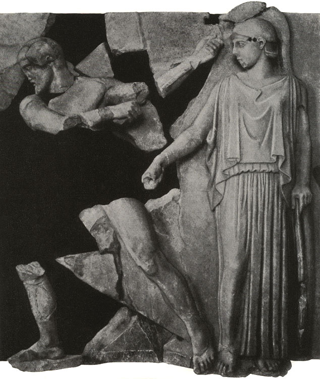 Athena and Marsyas. Metope from the Temple of Zeus, Olympia. 5th century BCE. Olympia, Archaeological Museum