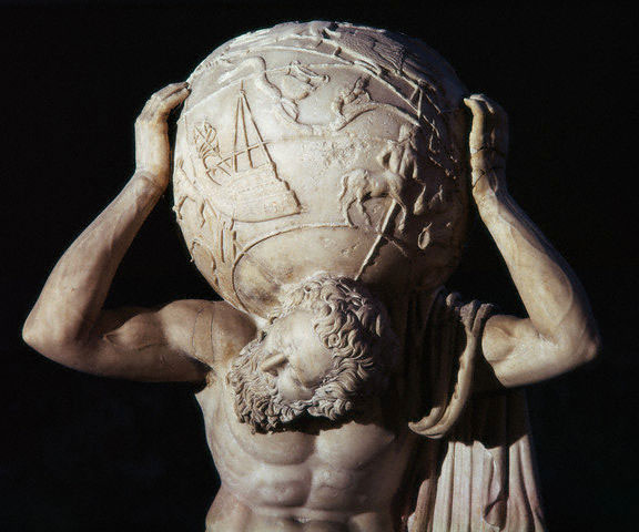 Statue of Atlas, holding the Earth. Detail. Marble. Newly-Roman period. Naples, National Archaeological Museum