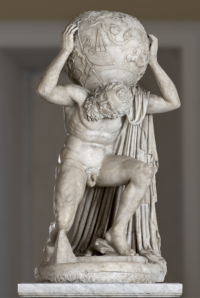 Statue of Atlas holding the celestial sphere (Farnese Atlas). Marble. Roman copy of a Greek sculpture of the 2nd cent. BCE. H. 191 cm. Diameter of the sphere 66 cm. Inv. No. 6374. Naples, National Archaeological Museum