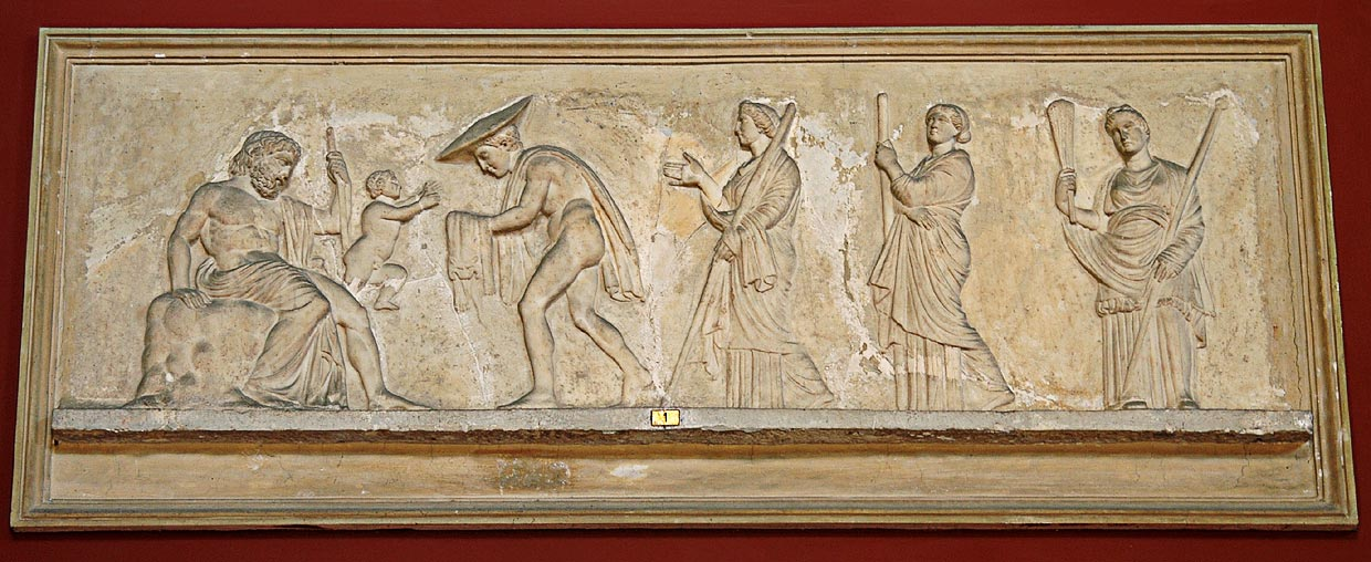 Relief with the image of the scene of Dionysos' birth. Marble. Roman work of the second century after a Greek model of the late 4th century BCE. Inv. No. 328. Rome, Vatican Museums, Pius-Clementine Museum, Room of the Muses, 1