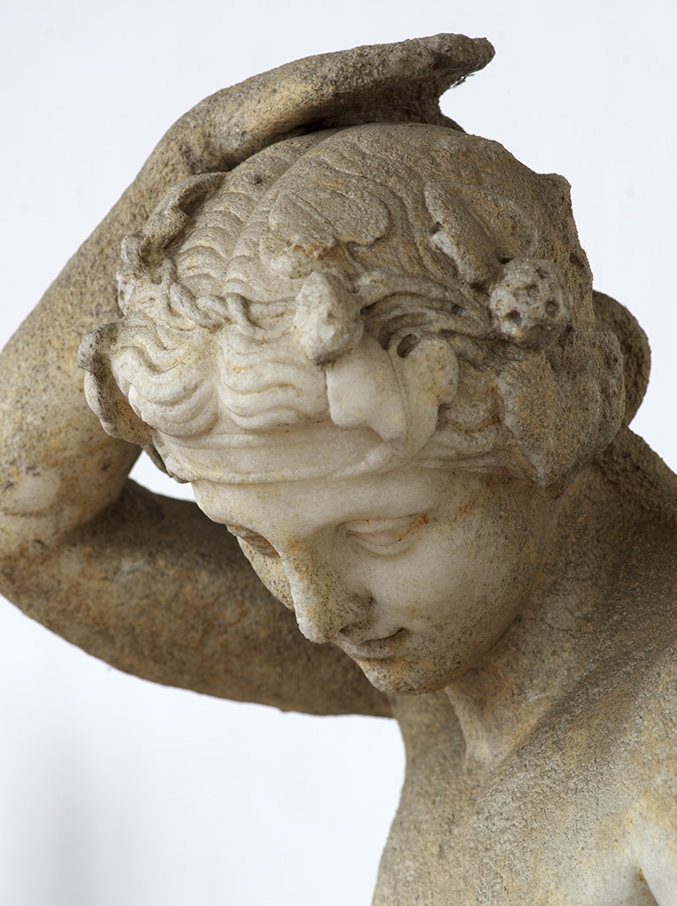 Drunken Dionysos (close-up). White marble. 1st cent. CE. (Claudian Age). Inv. No. 74026. Rome, Roman National Museum, Baths of Diocletian