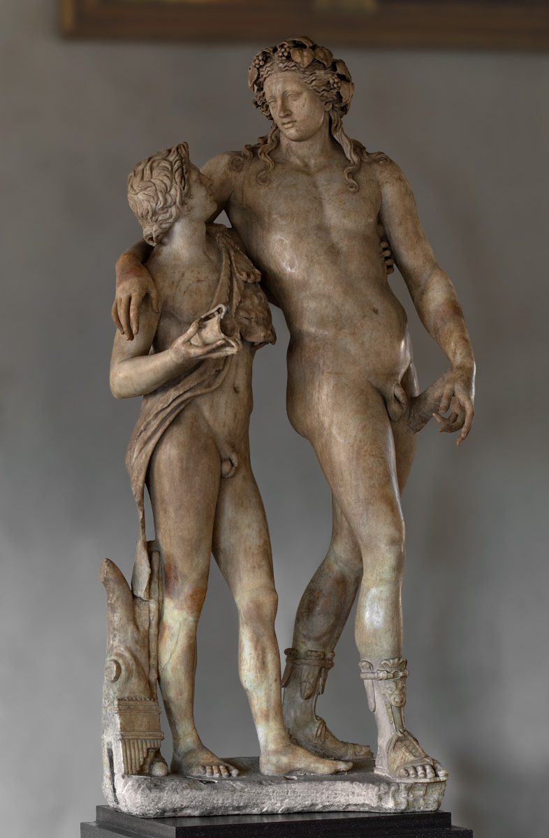 Dionysos and satyr. Marble. Roman copy of 120—140 CE after a Greek model. Florence, Gallery of Uffizi