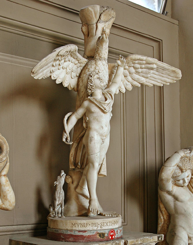 Ganymede and the eagle. Marble. Roman copy of the 2nd century after a bronze original by Leochares of the 4th century BCE. Inv. No. 2445. Rome, Vatican Museums, Gallery of the Candelabra