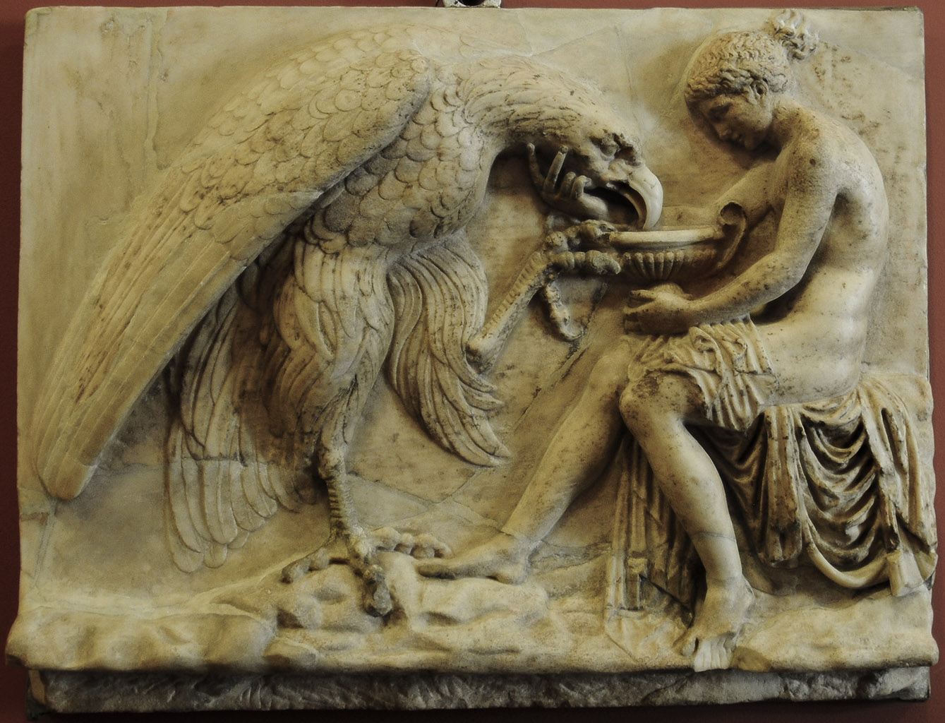 Ganymede feeding the eagle. Marble. Roman copy of late 1st cent. BCE after a Greek original. 58 × 44 cm. Inv. No. A. 195. Saint Petersburg, The State Hermitage Museum