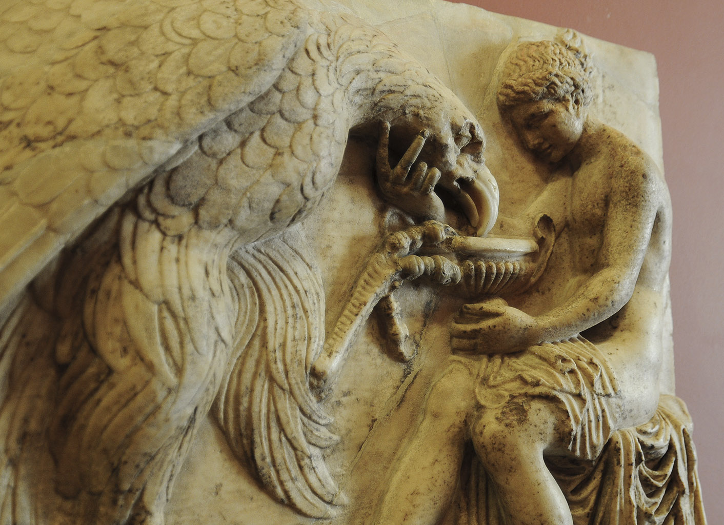 Ganymede feeding the eagle. Detail. Marble. Roman copy of late 1st cent. BCE after a Greek original. 58 × 44 cm. Inv. No. A. 195. Saint Petersburg, The State Hermitage Museum