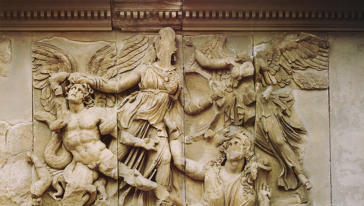 Struggle of Athene and Alcyoneus. Fragment of the eastern frieze of the Pergamum altar. Marble. Ca. 180—159 BCE. Berlin, State Museums, Pergamon Museum